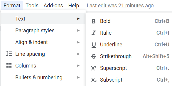 From the formatting menu, you have to choose the Text option.