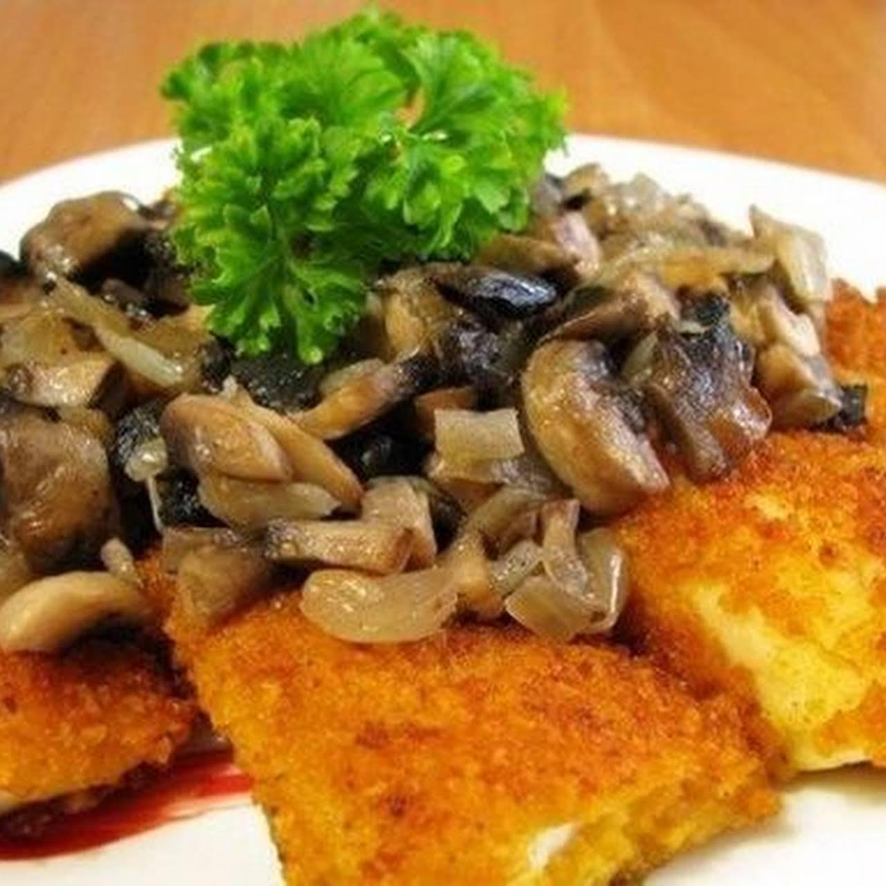 Fried Fish  next Mushrooms