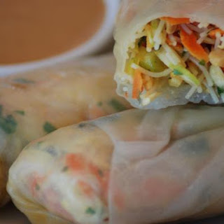 Gluten Free Vegetarian Spring Rolls With Thai-Style Peanut Sauce.