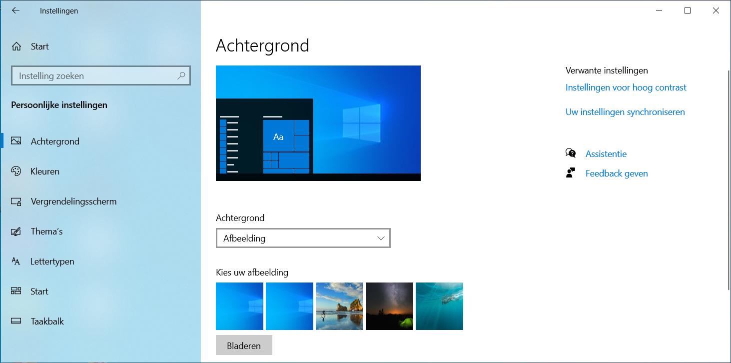 Windows 10 achtergrond veranderen