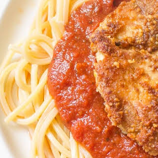 Pine Nut-Crusted Chicken with Spaghetti.
