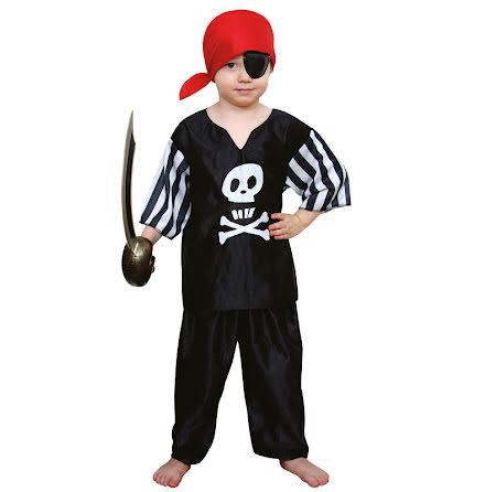 Barndräkt, pirat svart 134/140 cl