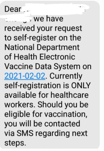 The SMS stating that currently, registration is only for healthcare workers.