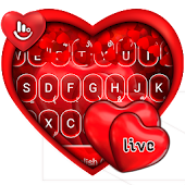 Live Red Romantic Heart Keyboard Theme