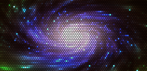 Animated live wallpaper shows hexagonal pixels with shader programs.