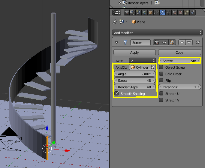 Spiral Staircase Using Empty Object in Blender 3D