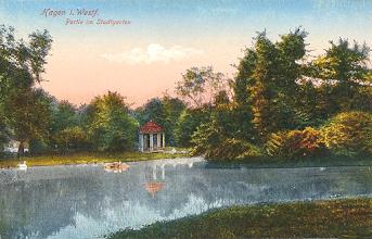 Photo: Eine undatierte Ansichtskarte der W- H. Dietrich'schen Reisebuchhandlung zu Hagen/Westf.