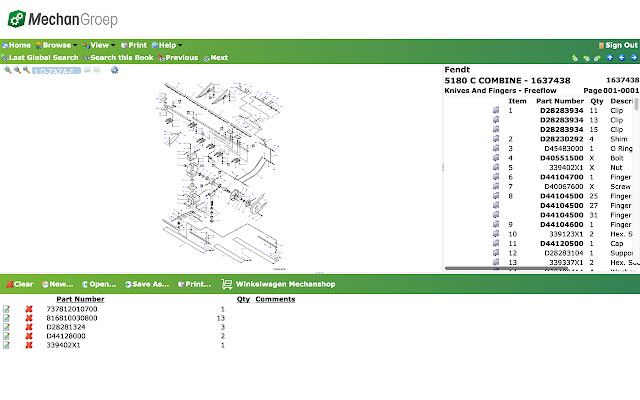 Mechan Groep Partsbook Extension