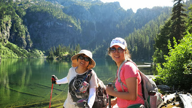 Photo: reached the lake. We had 3 more miles to go. Iris and Ivy.