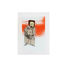 Photo: Femme debout, sérigraphie et peinture sur verre, 30x40 cm, 2010. tirage en 6 exemplaires uniques numérotés et signés. © Nadja Cohen