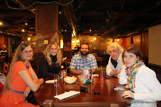Photo: Lunch with Lena (left), Pavel and Olga (right)--our contacts in Novosibirsk