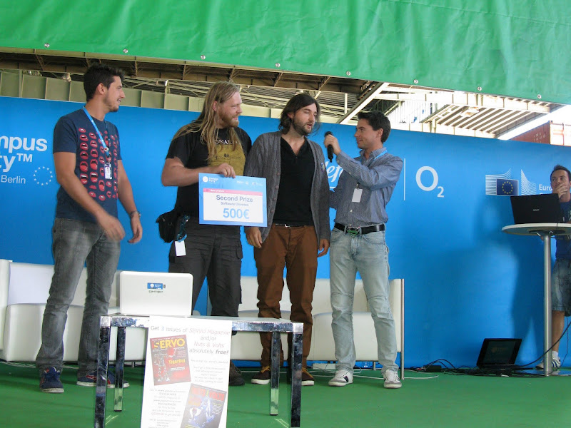Photo: The soccer robots from HU Berlin won 2nd prize in caegory software