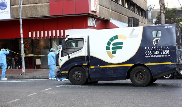 File photo of a Fidelity vehicle following a cash-in-transit heist in Hillbrow on June 21, 2018.