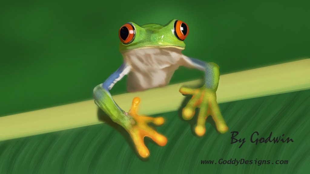 Frog Digital Painting Green Tree Frog