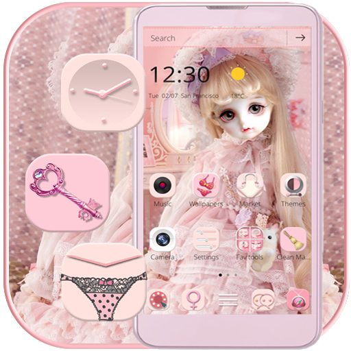 Cute Girl Princess Doll Theme Pink