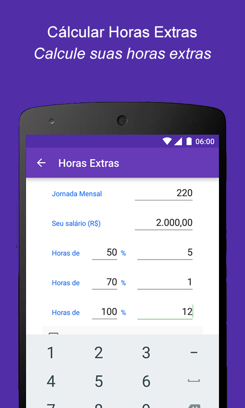 Calcular Horas Extras- screenshot