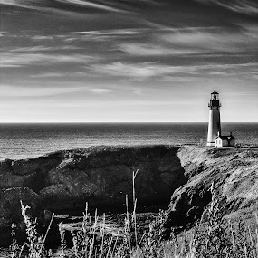 Yaquina Head Lighthouse by Craig Pifer - Landscapes Beaches ( clouds, oregon, b&w, yaquina head, black & white, lighthouse, blm, black and  white, ocean, landscape, historic, coast )