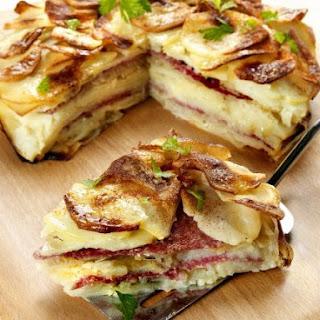Onion and Salami Potato Cake