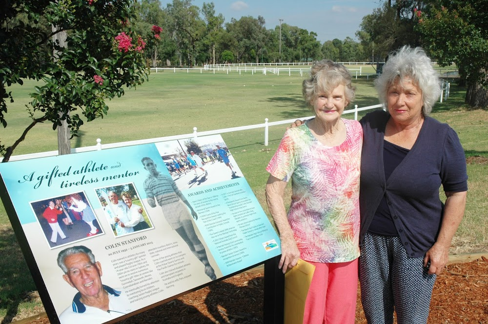 FITTING TRIBUTE: Col Stanford's widow Pam and Narrabri Shire Mayor Cathy Redding at the memorial plaque for the inspirational athletics coach