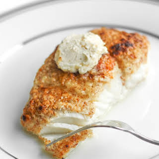 Almond-Crusted Halibut with Lemon Garlic Butter.