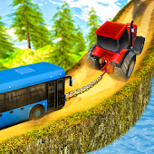 Chained Tractor Towing Bus