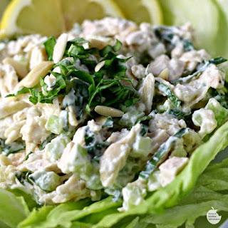 Creamy Lemon and Fresh Basil Chicken Salad.