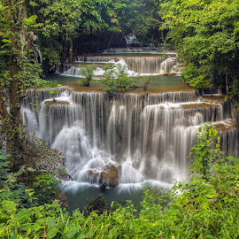 Khamin Falls by Reinhard Latzke - Landscapes Waterscapes ( khamin, erwawan, waterfall, thailand, kanchanaburi )