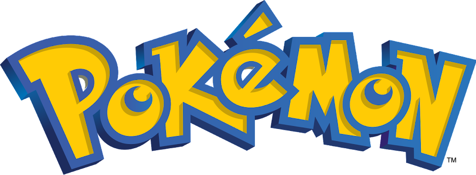 Pokemon logo with yellow text and blue outline