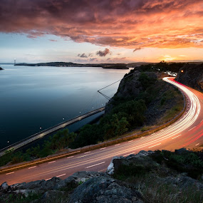 Hästepallarna by Maths Karlsson - Landscapes Sunsets & Sunrises ( canon, sky, canon 11-24mm, citiscapes, sunset, cars, uddevalla, light trails, long exposure, 11-24, sun, city )