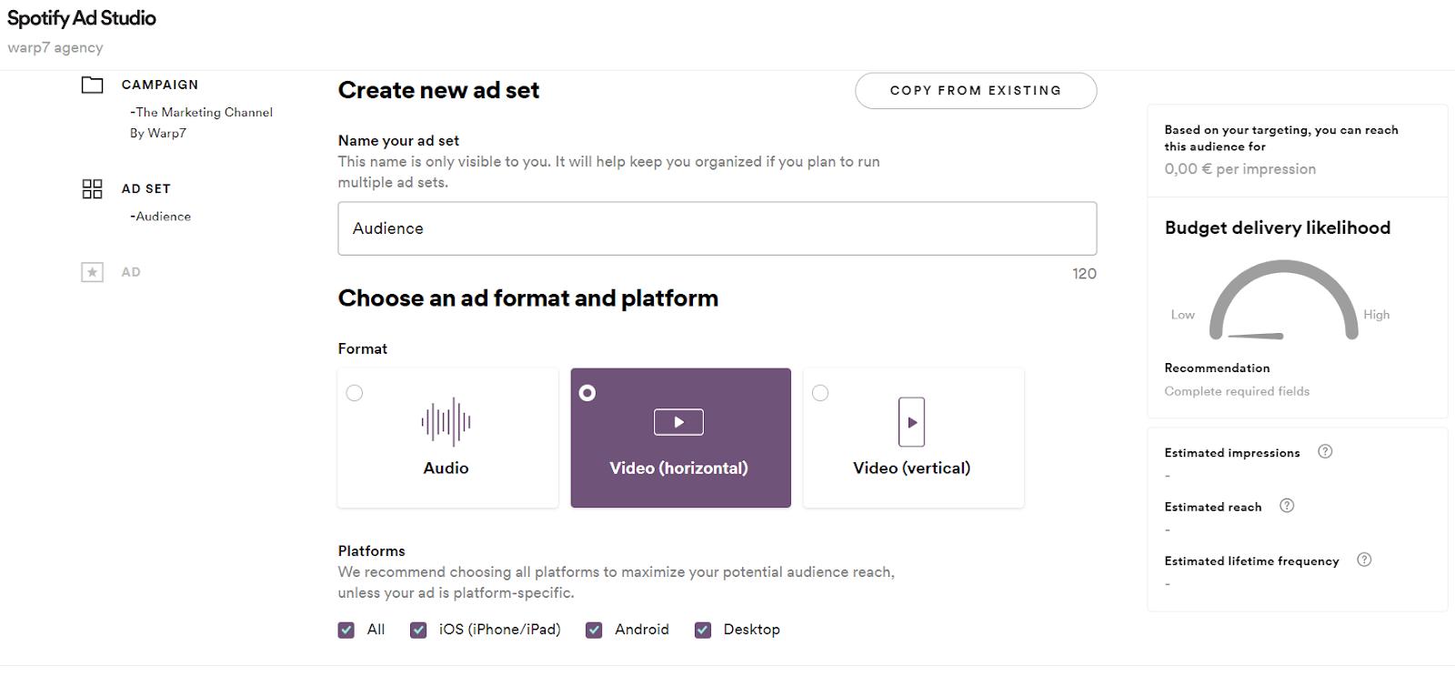Spotify Ad Studio, la piattaforma pubblicitaria self-service. La scelta del formato degli annunci