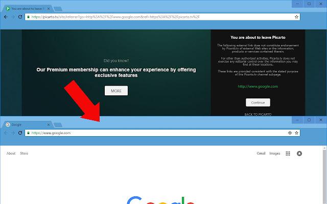 Picarto Link Warning Redirect
