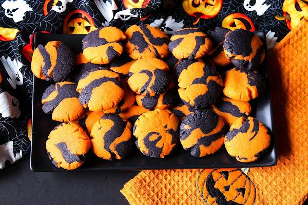 A Plate Of Twisted Halloween Sugar Cookies.