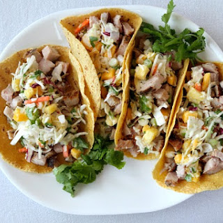 Grilled Pork Tacos with Tropical Slaw.