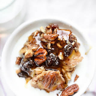 Slow Cooker Baked Oatmeal with Bananas and Nuts.