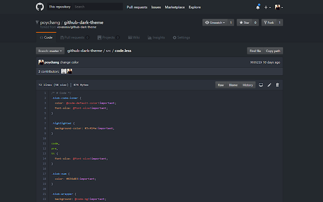GitHub Dark Theme