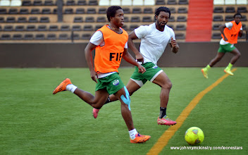 Photo: George Davies and Michael Lahoud   [Training camp ahead of Leone Stars v DR Congo on 10 September 2014 (Pic © Darren McKinstry / www.johnnymckinstry.com)]