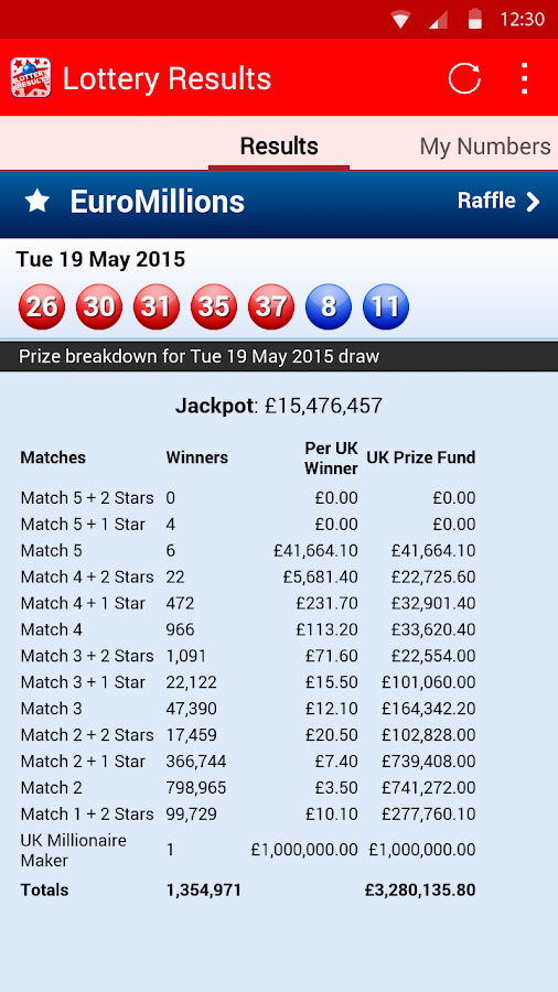 Lottery Results- screenshot