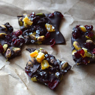 Dark Chocolate Bark With Candied Orange Peel.