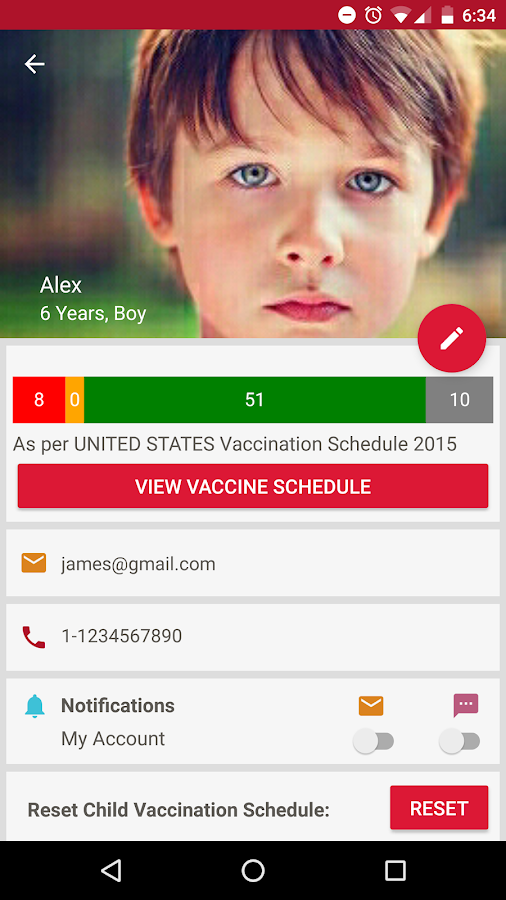 Vaccine Reminder- screenshot