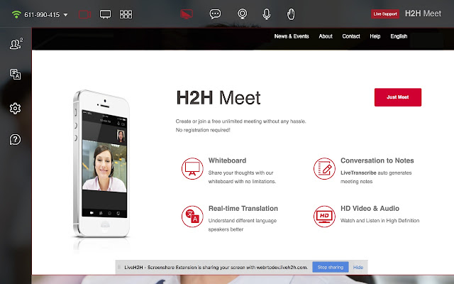 LiveH2H - Screenshare & Recording Extension