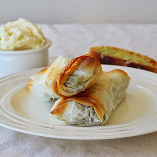 Chicken and Spinach Filo Parcels.