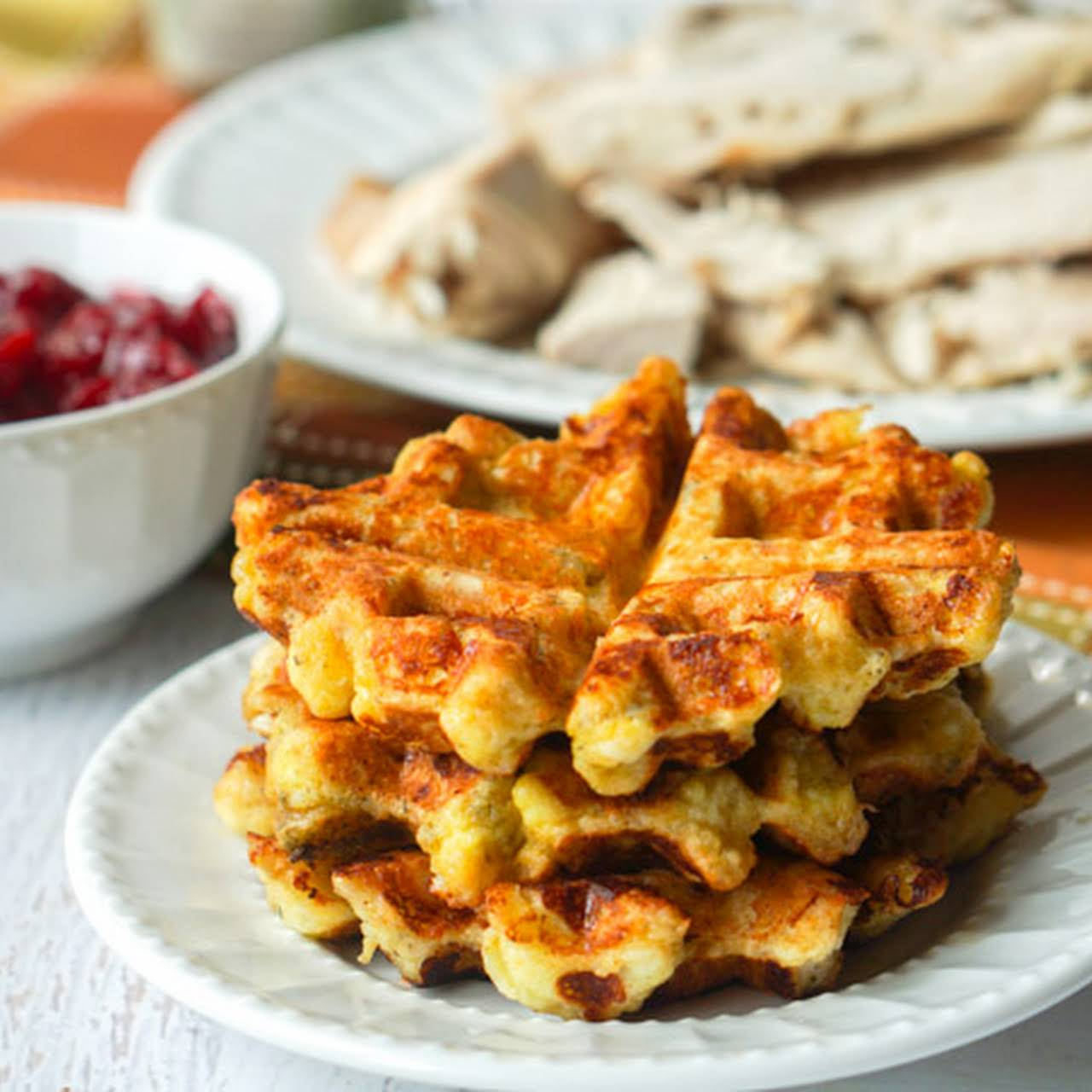 Low Carb Turkey Stuffing Waffles