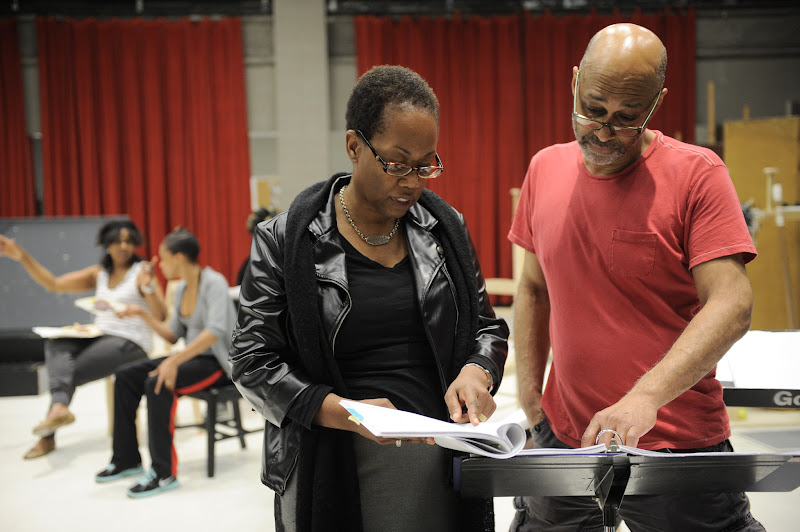 Photo: Playwright and Director Regina Taylor with music director Fred Carl during rehearsal for her 10th anniversary production of Crowns at Goodman Theatre (June 30 – August 5).