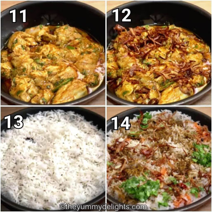 step by step collage of assembling & layering the biryani