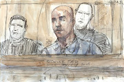 A court sketch made on February 27, 2018 shows French armed robber Redoine Faid during his trial at the Assise courthouse in Paris.
