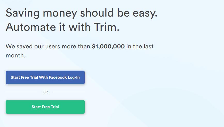 saving money app with trim