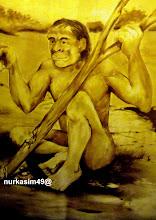 Photo: Manusia purba (Zaman Mezolitik). Lukisan dinding Museum La Galigo, Makassar. http://nurkasim49.blogspot.ca