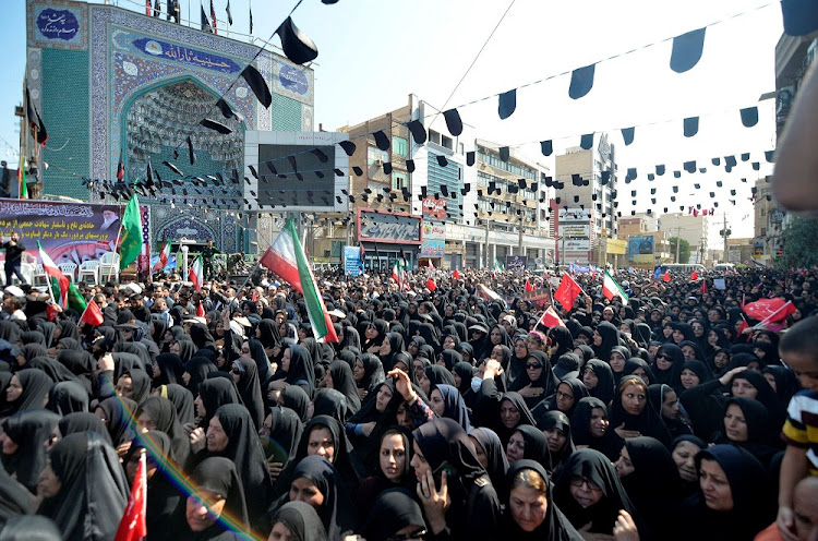 Women gather during a funeral of the victims of assault that killed 25 people, in the streets of the southwestern Iranian city of Ahvaz, Iran, September 24 2018. Picture: TASNIM NEWS/REUTERS