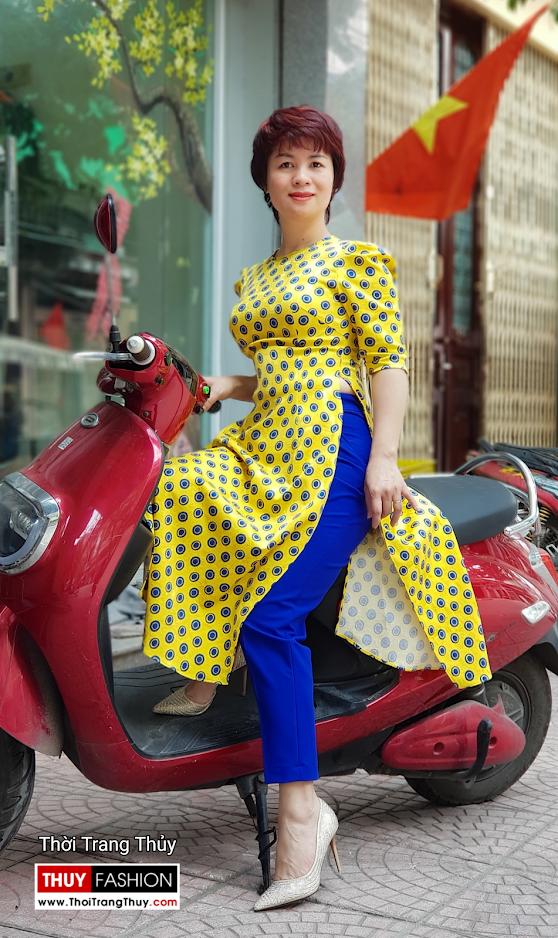 Áo dài cách tân chấm bi màu vàng xanh V704 thời trang thủy hải phòng