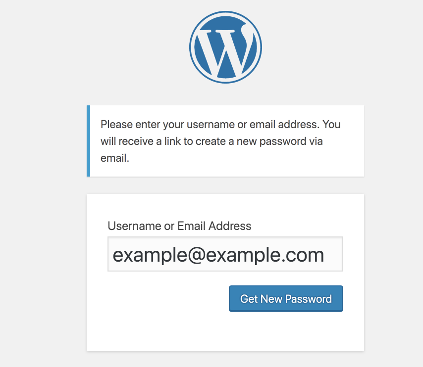 Screenshot of WordPress admin login page.